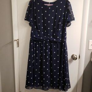 City Chic navy blue polka dot dress, M (18)